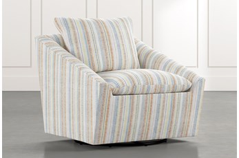 Cypress II Multi Striped Swivel Accent Chair