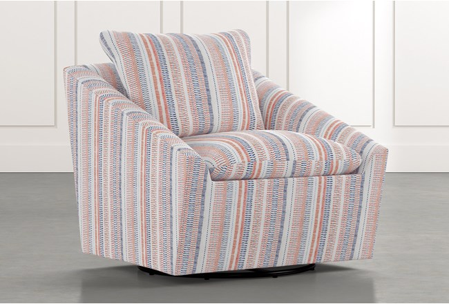 Cypress II Red Striped Swivel Accent Chair - 360
