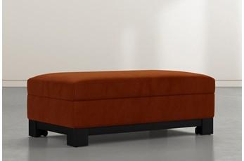 Cypress II Orange Velvet Accent Storage Ottoman
