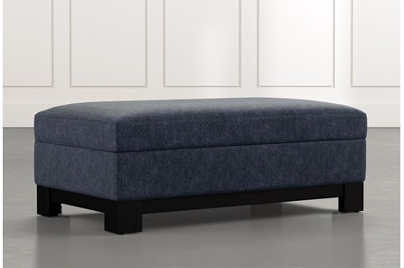 Cypress II Navy Blue Accent Storage Ottoman