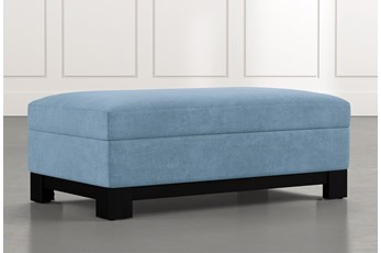 Cypress II Light Blue Accent Storage Ottoman