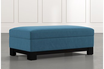 Cypress II Teal Accent Storage Ottoman