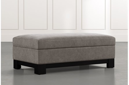 Cypress II Dark Grey Accent Storage Ottoman