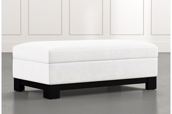 Cypress II White Accent Storage Ottoman