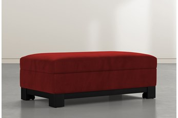 Cypress II Red Velvet Accent Storage Ottoman