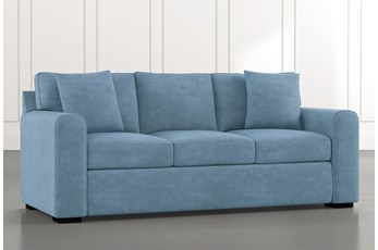 "Cypress II 83"" Light Blue Sofa"
