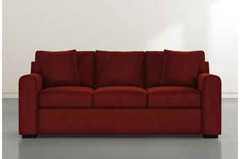Cypress II Foam Burgundy Velvet Sofa