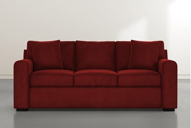 "Cypress II Foam 83"" Burgundy Velvet Sofa"