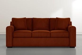 """Cypress II Foam 83"""" Orange Velvet Sofa"""