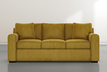 "Cypress II Foam 83"" Gold Velvet Sofa"
