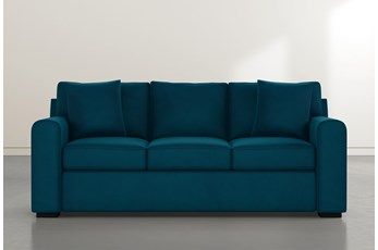 "Cypress II Foam 83"" Teal Blue Velvet Sofa"