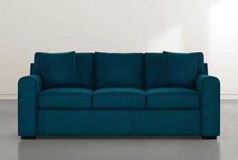 "Cypress II Foam 83"" Teal Blue Velvet Sofa"