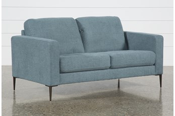 "Aaron Steel Blue 63"" Loveseat"