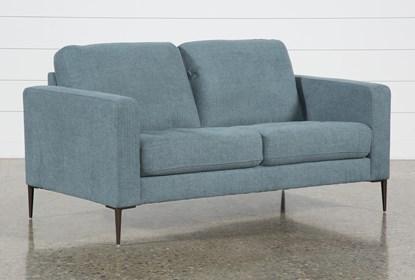 Surprising Aaron Steel Blue Loveseat Bralicious Painted Fabric Chair Ideas Braliciousco