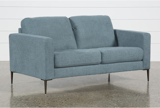Aaron Steel Blue Loveseat - 360