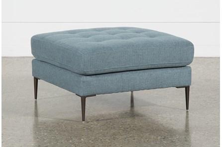 Aaron Steel Blue Ottoman
