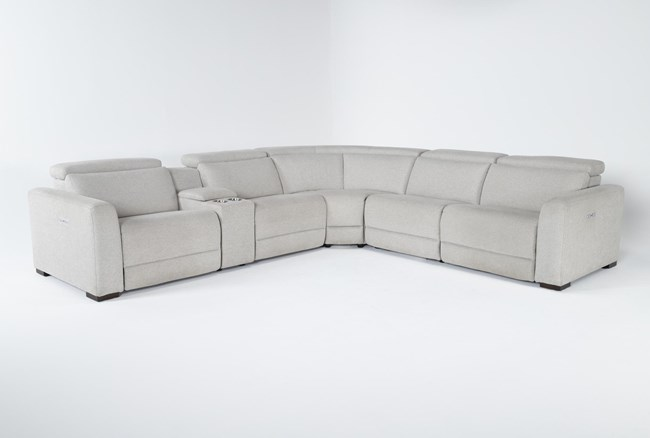 """Chanel Grey 6 Piece 132"""" Power Reclining Sectional - 360"""