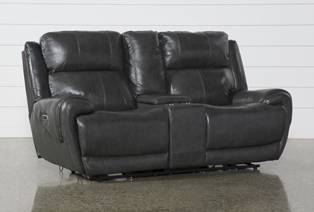 Shasta Leather Power Reclining Console Loveseat With Power Headrest & Usb