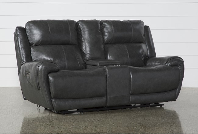 Shasta Leather Power Reclining Console Loveseat With Power Headrest & Usb - 360
