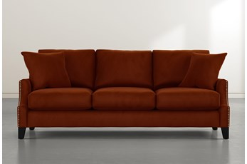 Kayla Orange Velvet Sofa