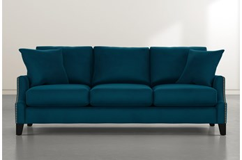 Kayla Teal Blue Velvet Sofa