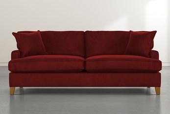 """Emerson II 88"""" Burgundy Velvet Sofa"""