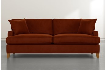 "Emerson II 88"" Orange Velvet Sofa"