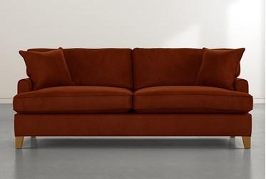 """Emerson II 88"""" Orange Velvet Sofa"""