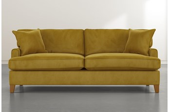 "Emerson II 88"" Gold Velvet Sofa"