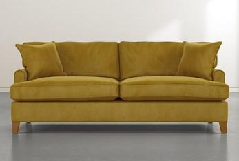 """Emerson II 88"""" Gold Velvet Sofa"""