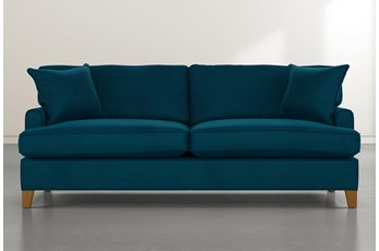 "Emerson II 88"" Teal Blue Velvet Sofa"