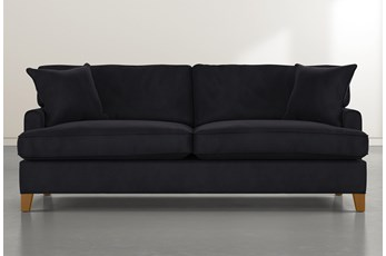 Emerson II Black Velvet Sofa