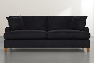"""Emerson II 88"""" Black Velvet Sofa"""