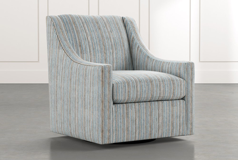 emerson ii light blue striped swivel accent chair  living