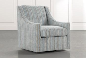 Emerson II Light Blue Striped Swivel Accent Chair