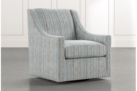Emerson II Light Blue Striped Swivel Accent Chair