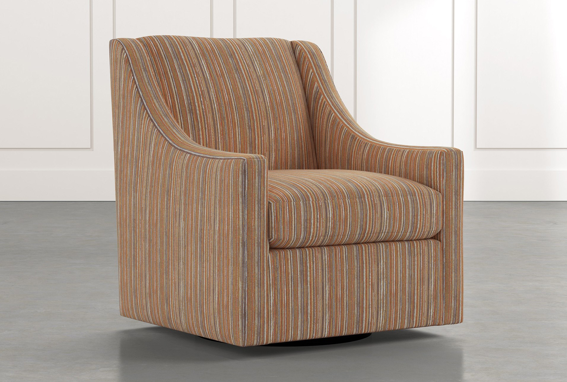 Emerson Ii Orange Striped Swivel Accent Chair Living Spaces