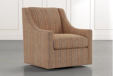 Emerson II Orange Striped Swivel Accent Chair