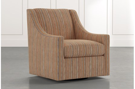 Emerson II Orange Striped Swivel Accent Chair