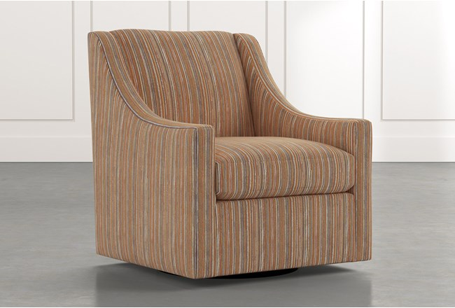 Emerson II Orange Striped Swivel Accent Chair - 360