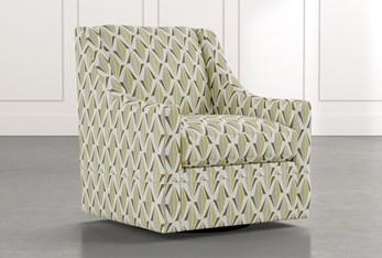 Emerson II Green Geometric Swivel Accent Chair