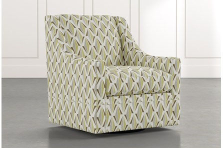 Emerson II Green Geometric Swivel Accent Chair