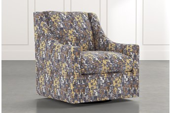 Emerson II Yellow Geometric Swivel Accent Chair