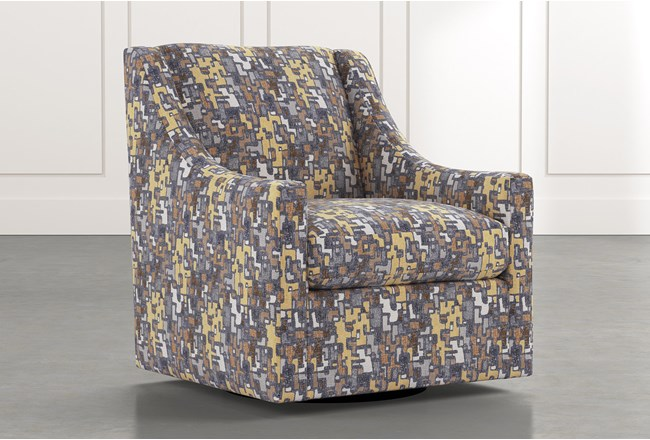 Emerson II Yellow Geometric Swivel Accent Chair - 360