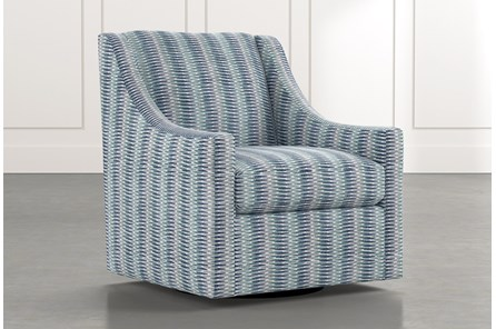 Emerson II Blue Striped Swivel Accent Chair