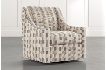 Emerson II Beige Striped Swivel Accent Chair
