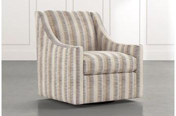 Emerson II Beige Striped Swivel Accent Chair