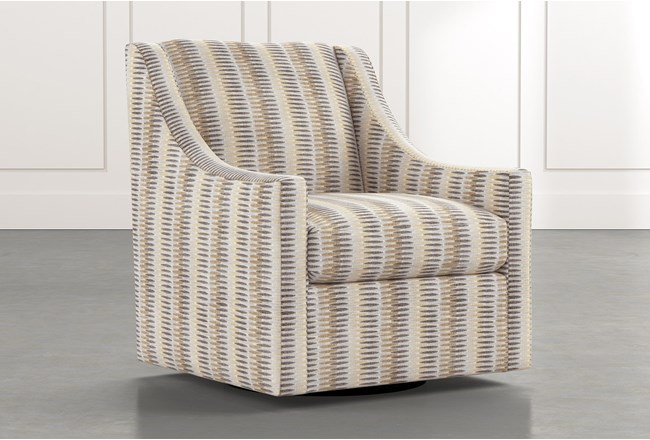 Emerson II Beige Striped Swivel Accent Chair - 360