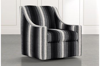 Emerson II Black Striped Swivel Accent Chair