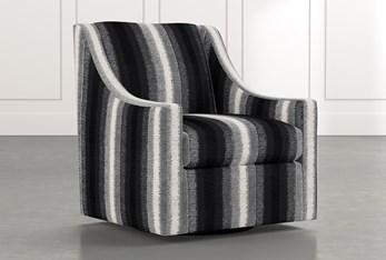 Emerson II Black Striped Swivel Accent Chair